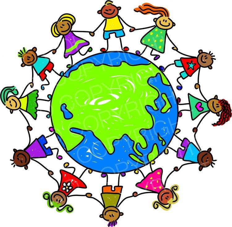 Toddler Art Asian World Globe Clipart Children.