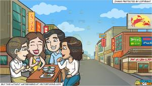 A Group Of Friends Grabbing Drinks And Appetizers Together and Downtown  Street In An Asian Neighborhood Background.