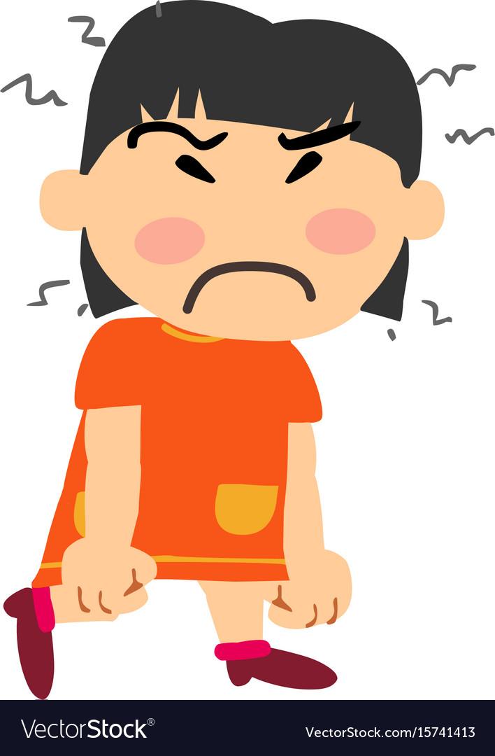 Cartoon character asian girl angry.
