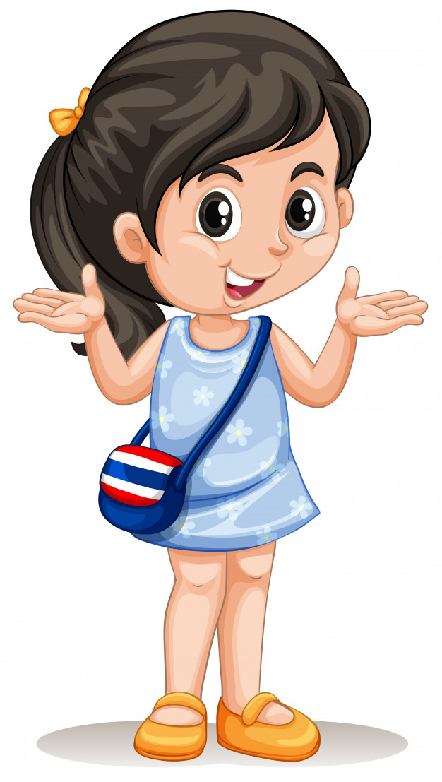 Little asian girl with handbag Vector.
