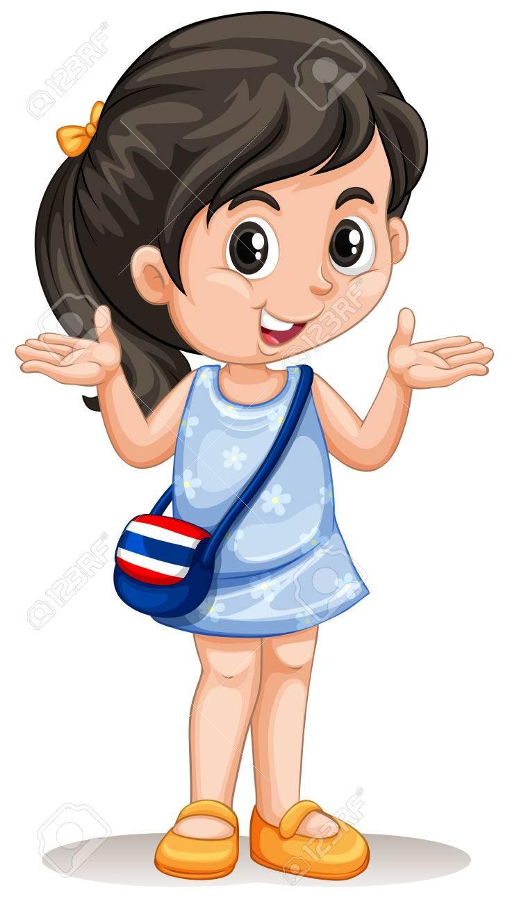 Little asian girl with handbag illustration.