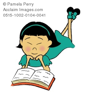 Clip Art Illustration of an Asian Girl Reading a Book.