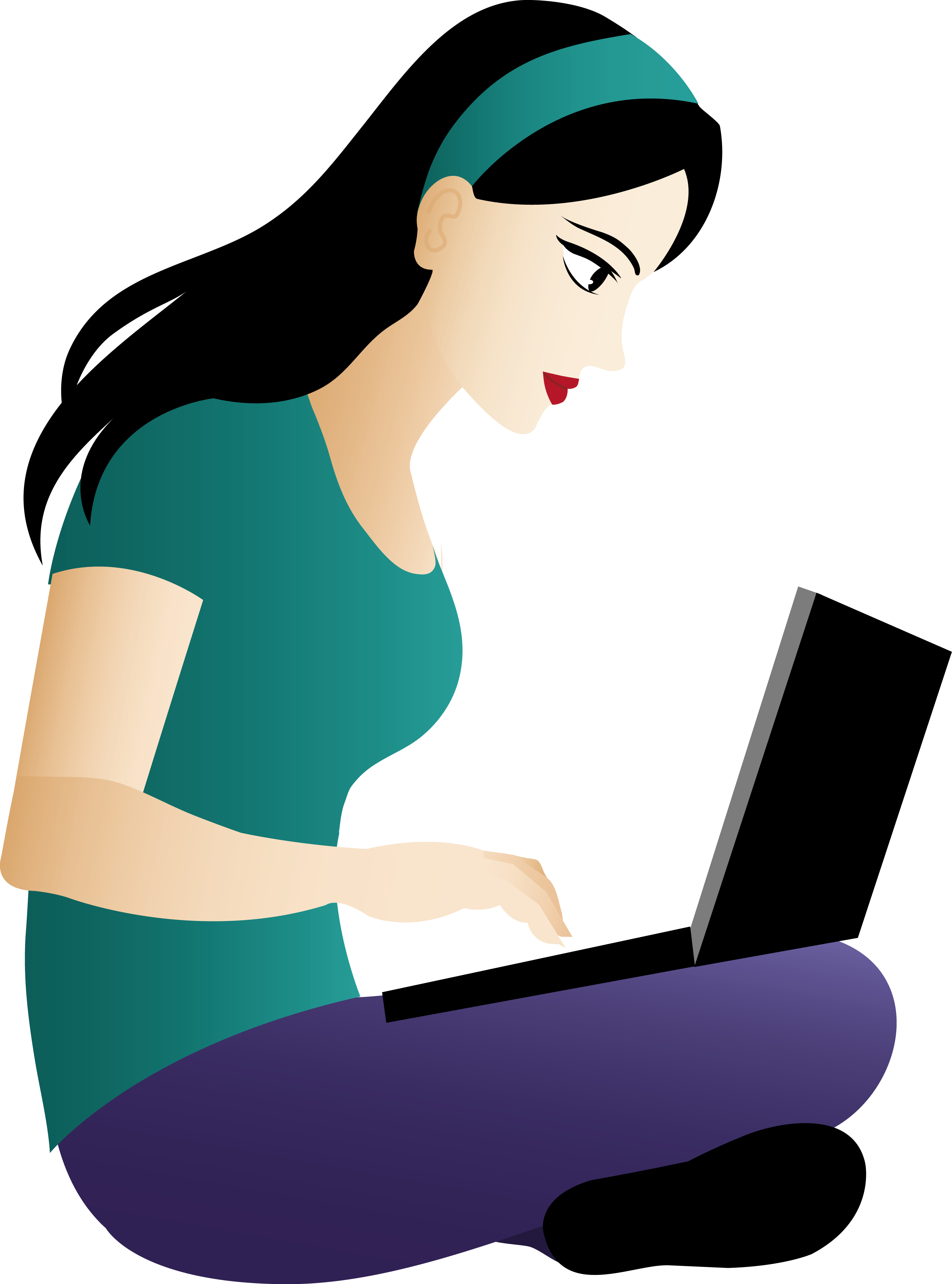 Asian Girl Sitting With Laptop.