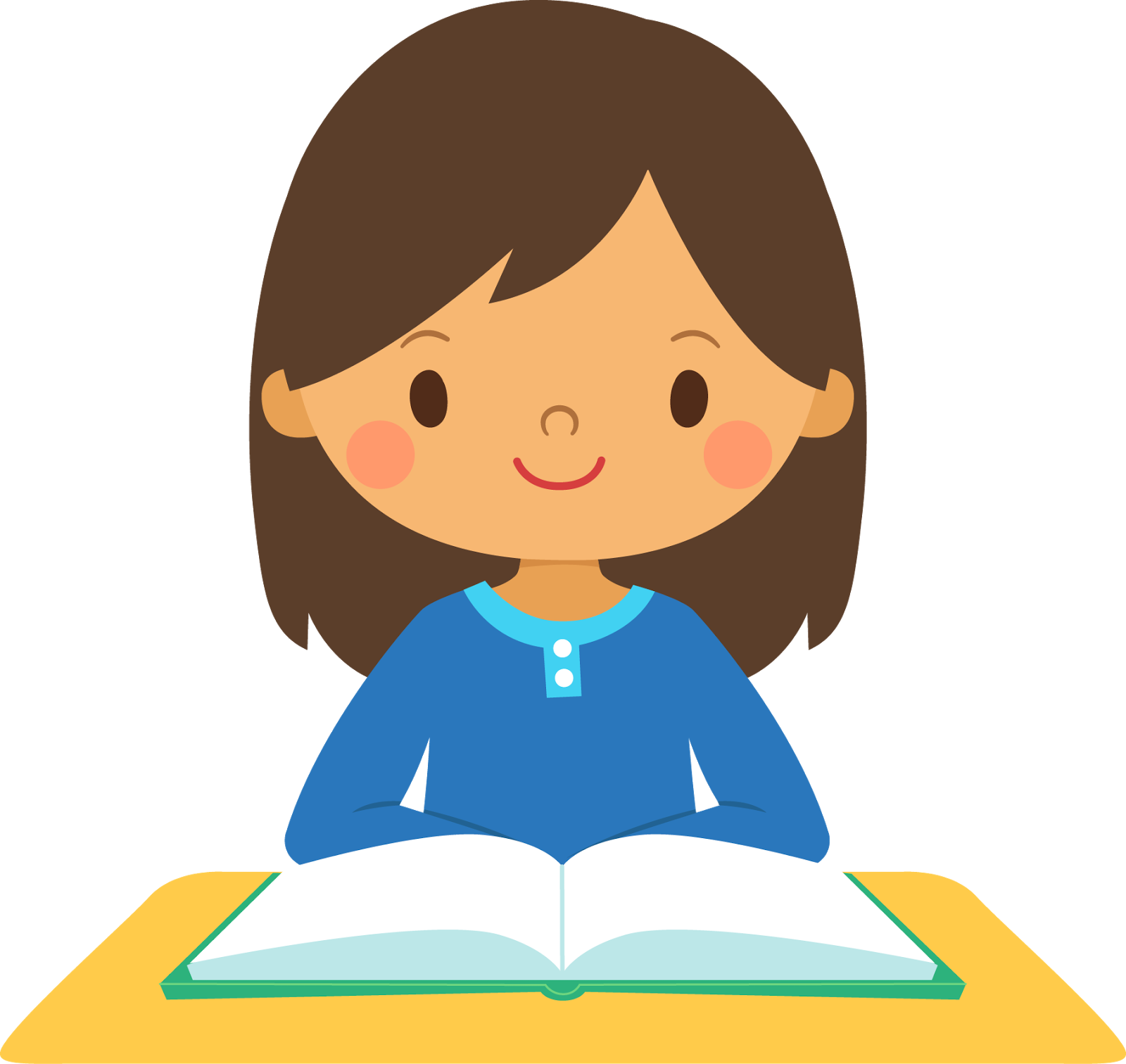 Asian girl student clipart.