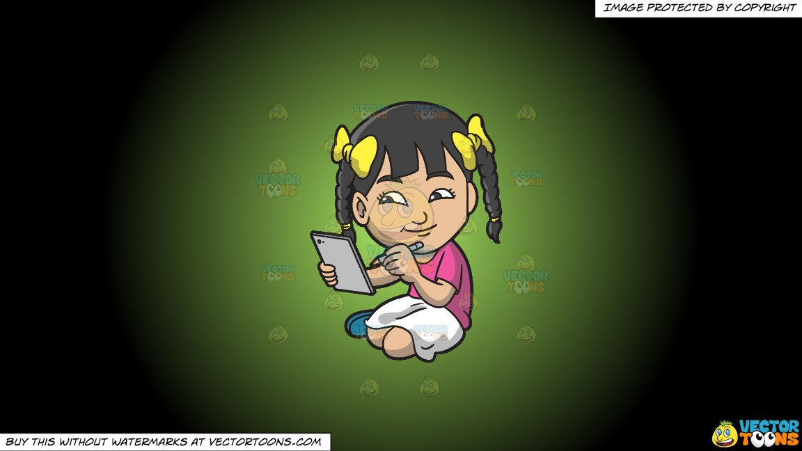 Clipart: An Asian Girl Drawing Something On Her Mobile Tablet on a Green  And Black Gradient Background.