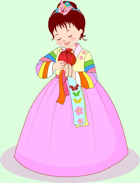 Cute girl drawing asian traditional costume Free vector in.