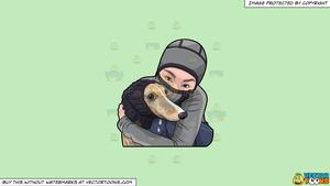 Clipart: A Woman Hugging Her Dog During A Cold Day on a Solid Tea Green  C2Eabd Background.