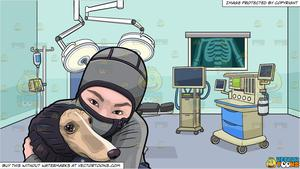 A Woman Hugging Her Dog During A Cold Day and A Surgery Room Background.