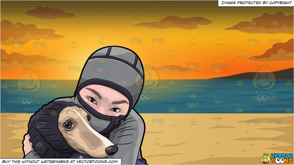 A Woman Hugging Her Dog During A Cold Day and Beach Sunset Background.