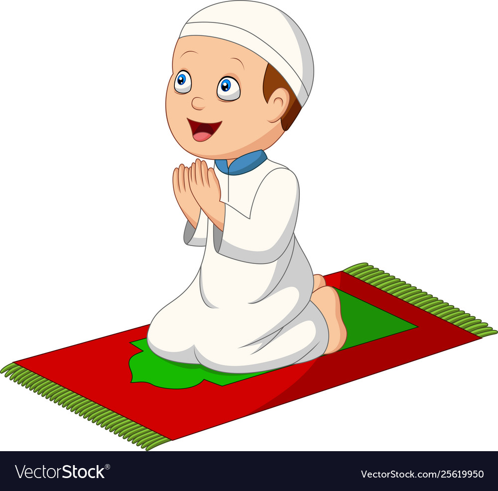 Cartoon muslim boy praying on prayer rug.