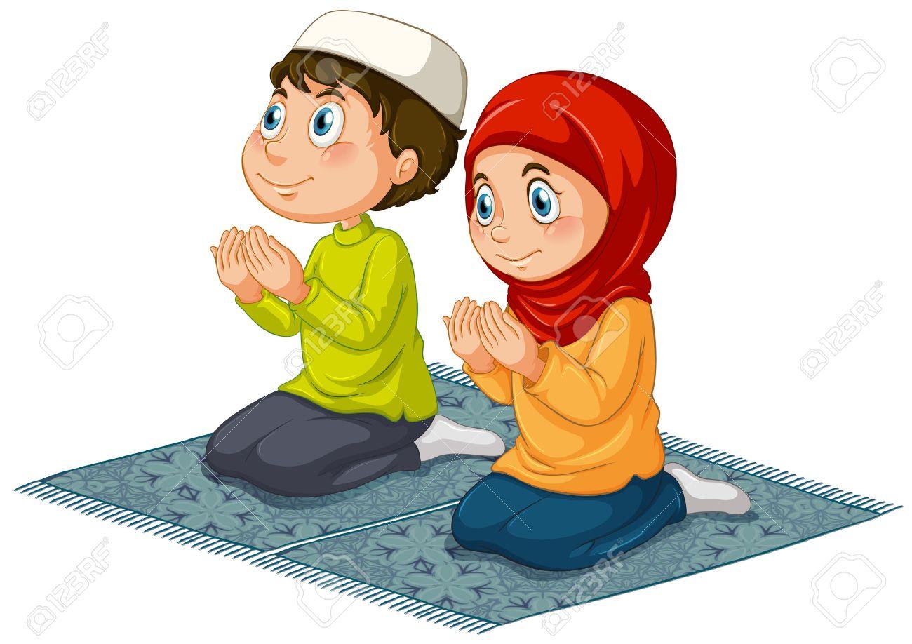 Muslim Kids Praying Clipart.
