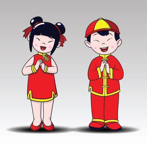 Happy Chinese , happy boy and girl standing , Cartoon Style.