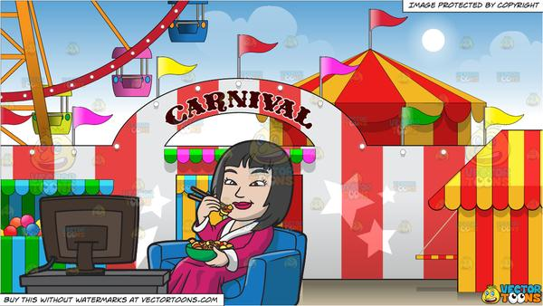 An Asian Woman Eating Chinese Food While Watching Tv and Exterior Of A  Carnival Background.