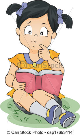 Thinking While Reading Clipart.