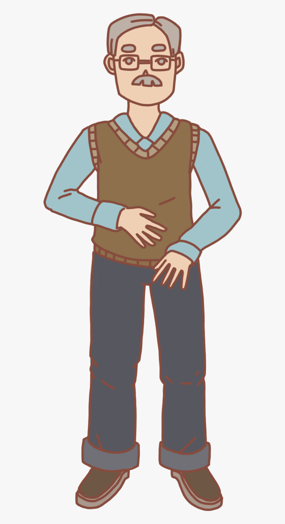Hand Drawn Cartoon Old Man Grandfather Png And Psd.