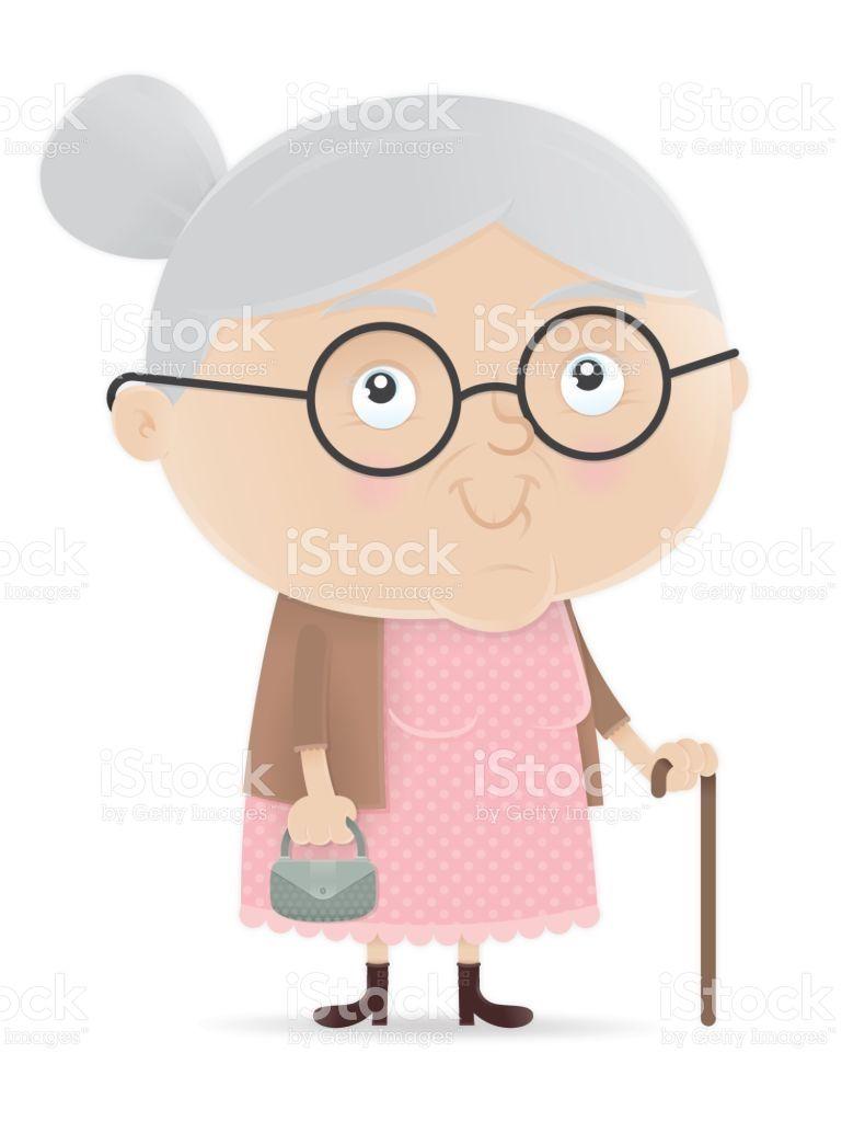 Vector illustration of old woman, elderly grandma.