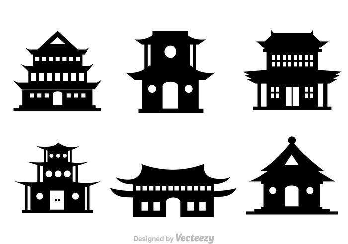 Chinese Temple Black Vector Icons.