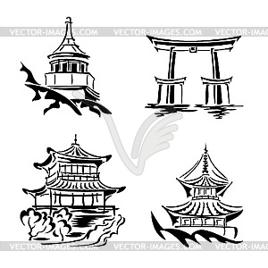 Asian temples.