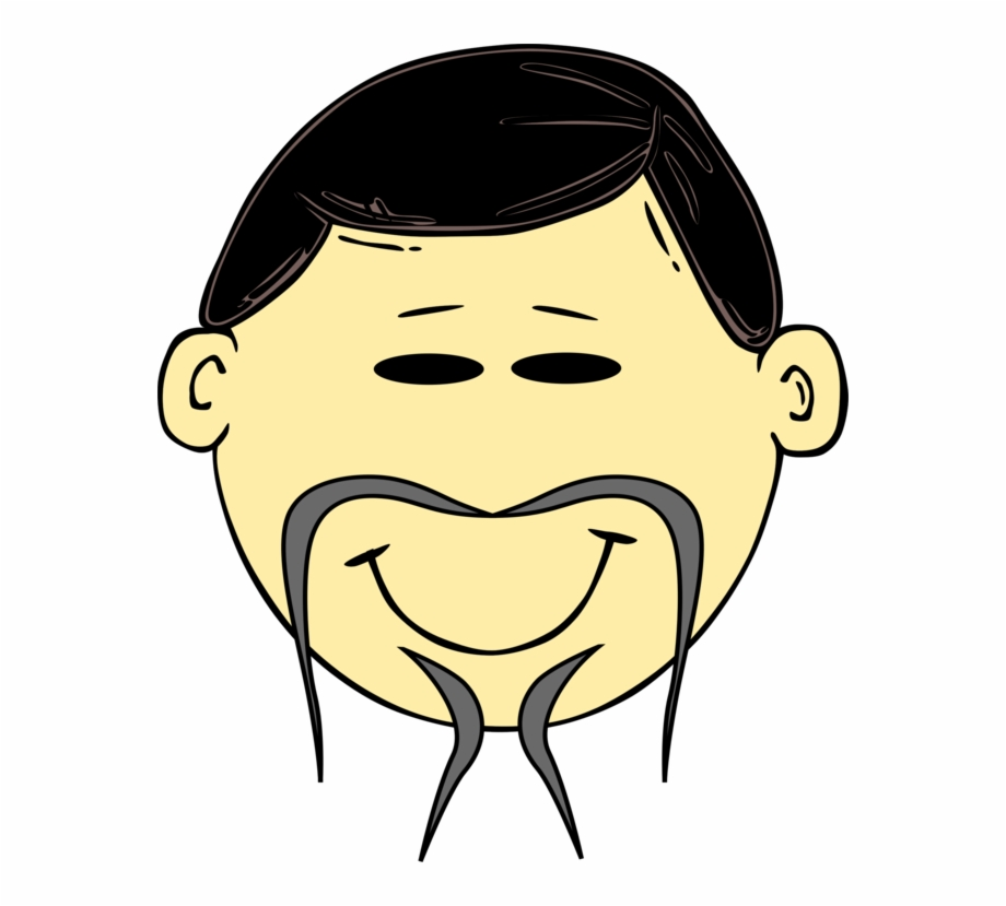 Face Cartoon Drawing Asian People Chinese Man Cartoon.
