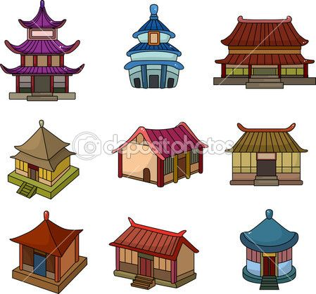 cartoon Chinese house icon set in 2019.