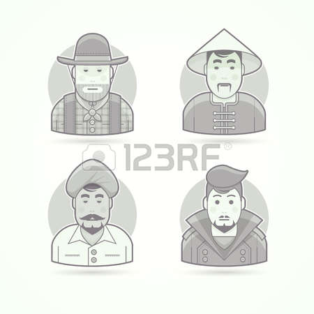 Asian Indian Character Clipart Icons Fat Man.