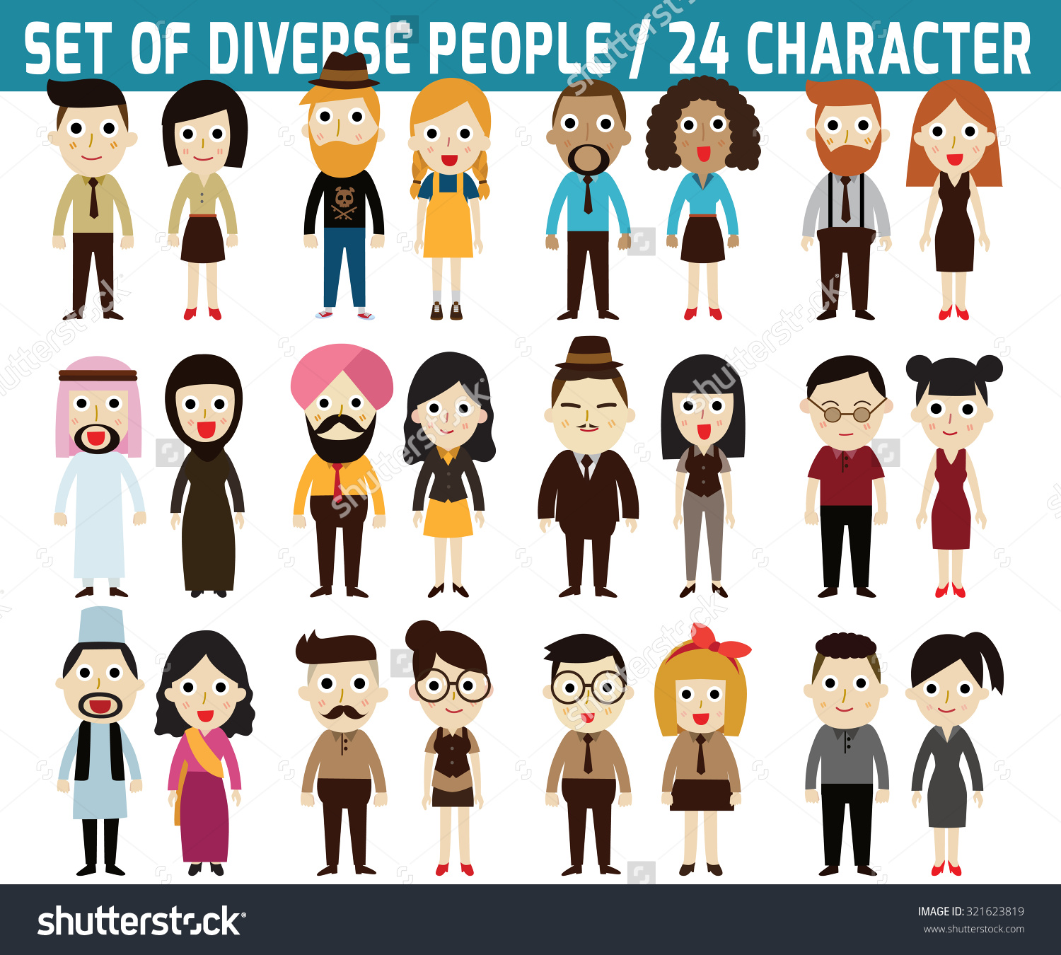 Set Full Body Diverse Business People infographic Stock Vector.