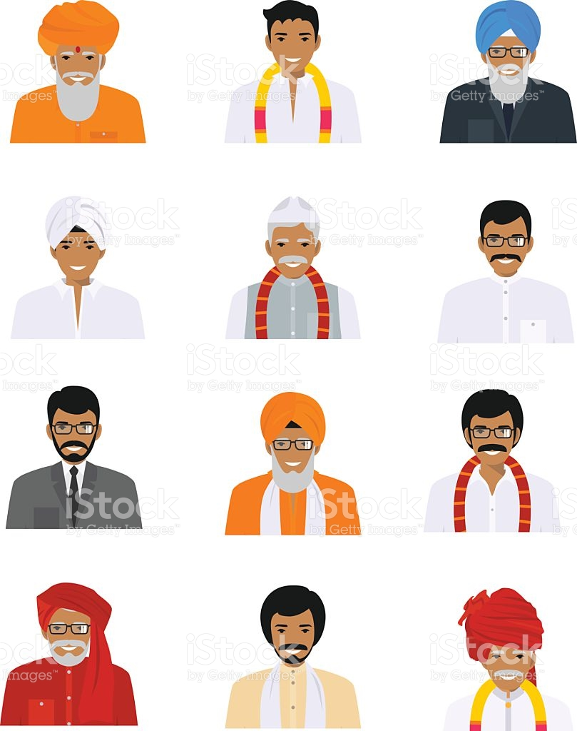 Different Indian Old And Young Men Characters Avatars Icons Set.
