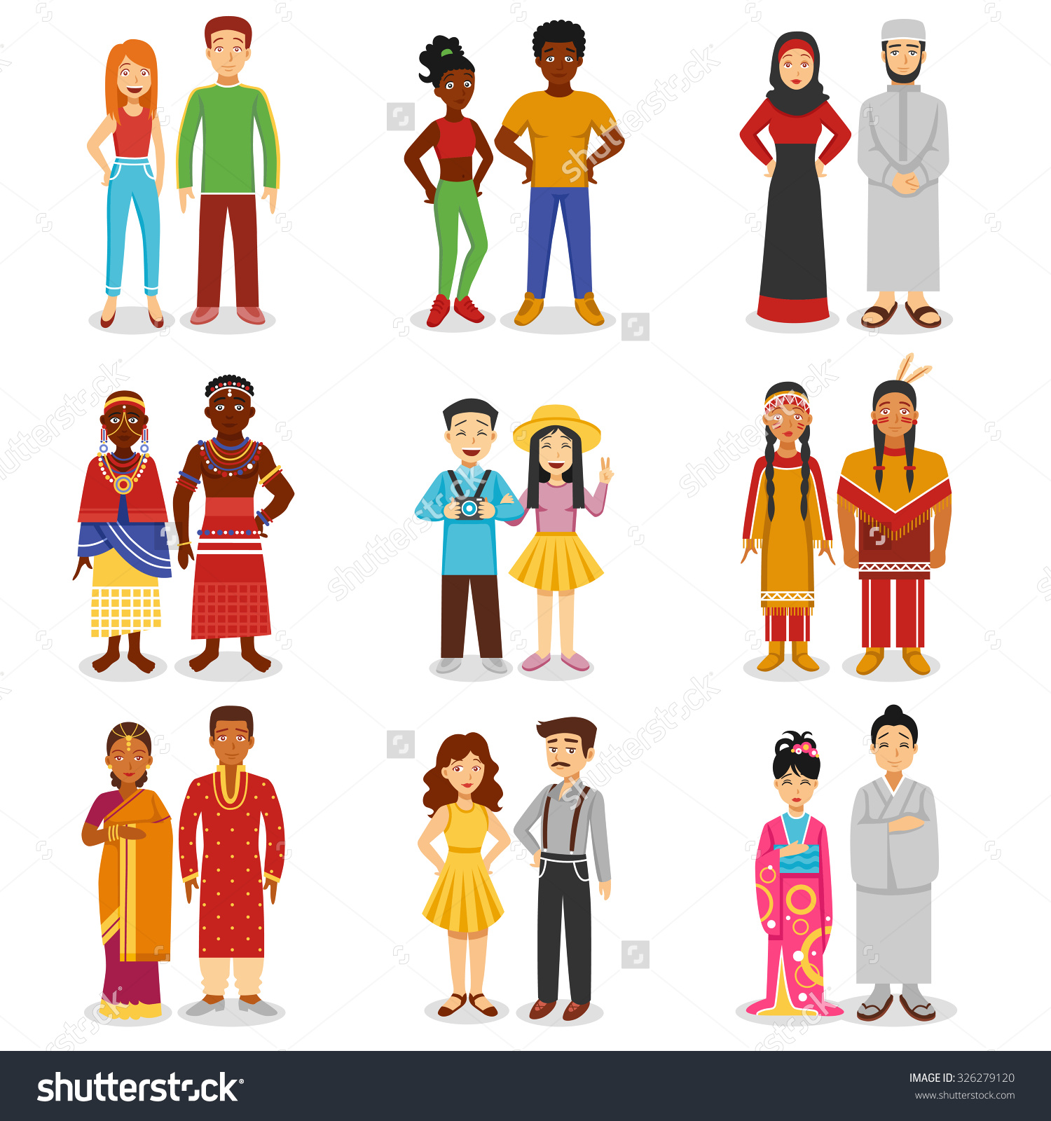 National Couples Icons Set European Asian Stock Vector 326279120.