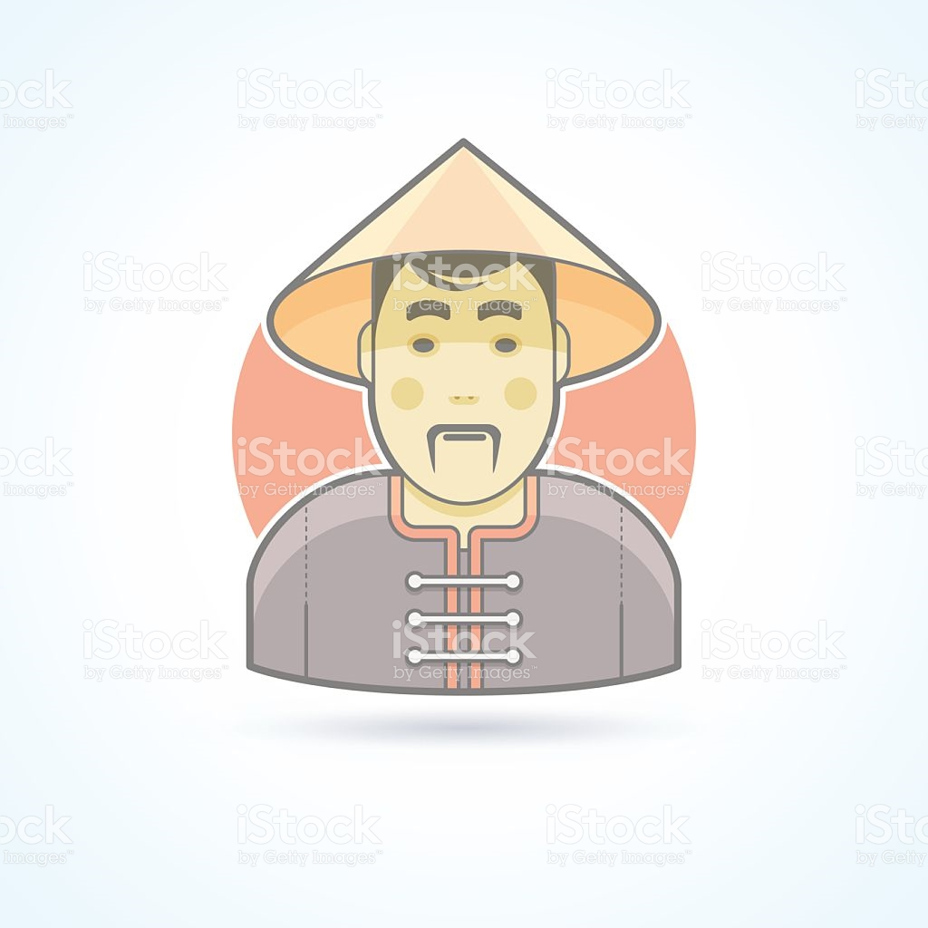 Chinese Man In Traditional Cloth Icon Avatar And Person.