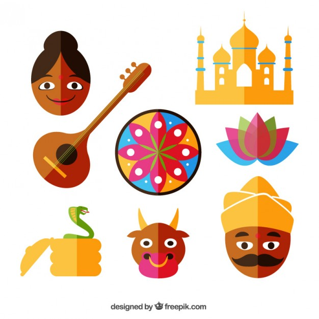 Indian Icons Set Vector.
