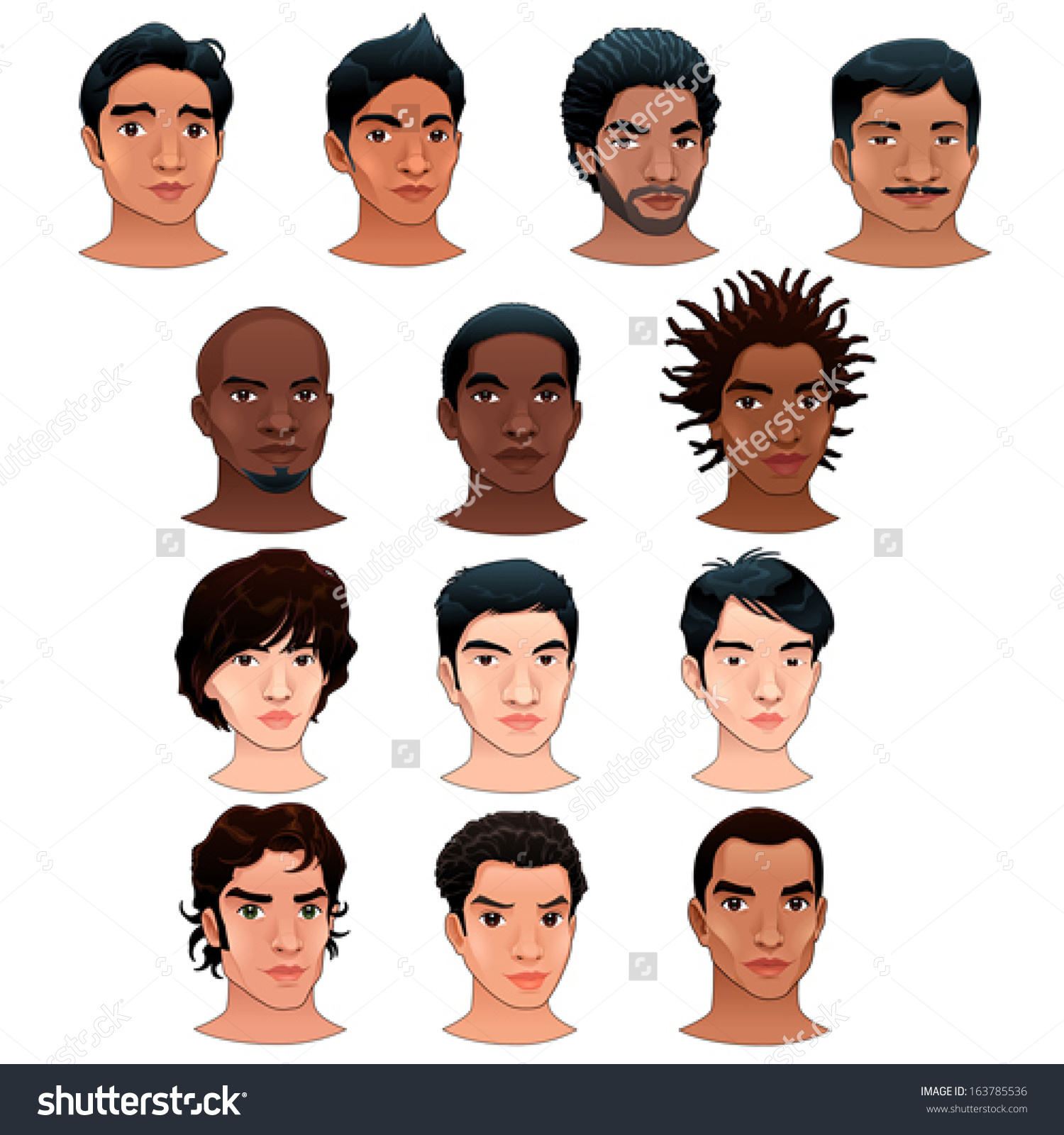 Indian Black Asian Latino Men Vector Stock Vector 163785536.