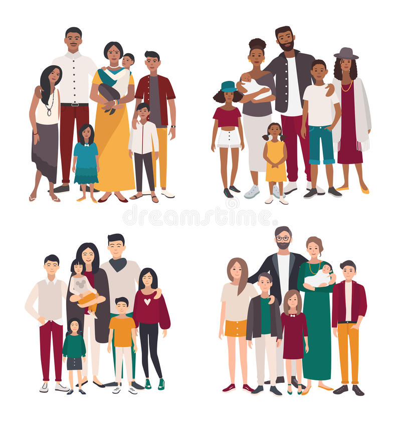 Family Indian Stock Illustrations.