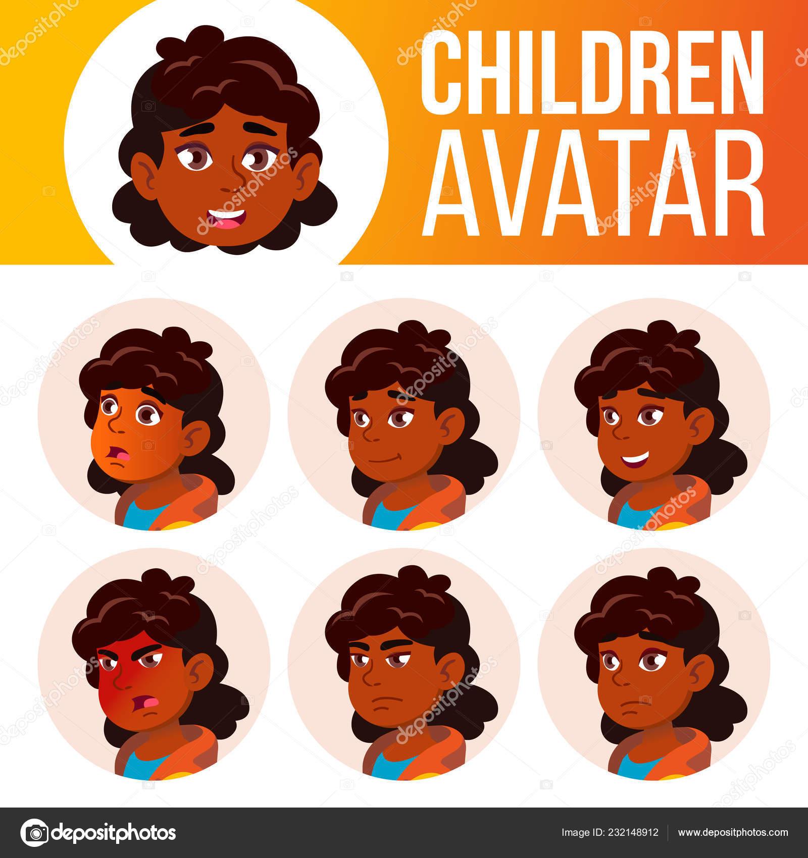 Indian Girl Avatar Set Kid Vector. Primary School. Hindu. Asian.