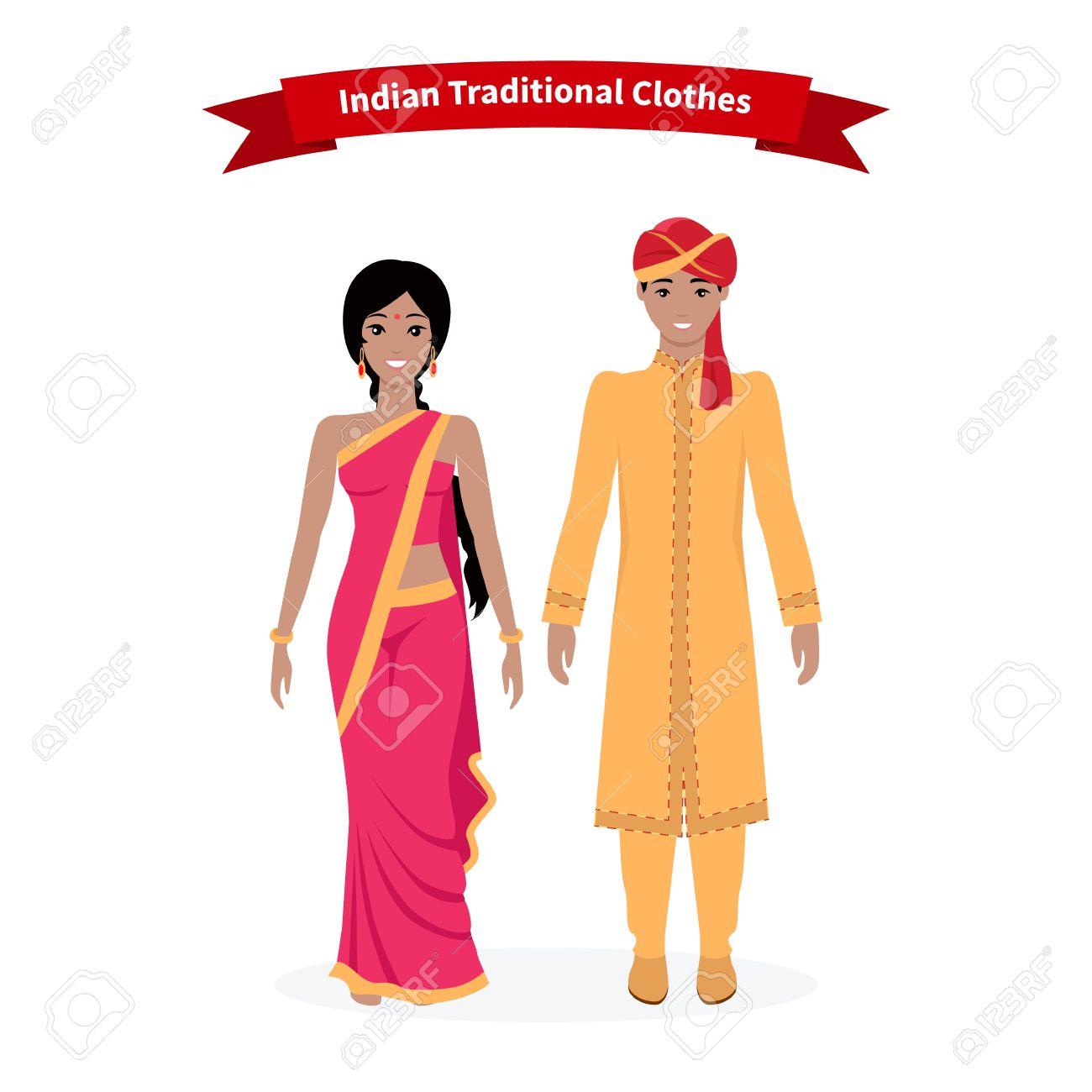Indian traditional clothes people. Indian sari, indian dress,...