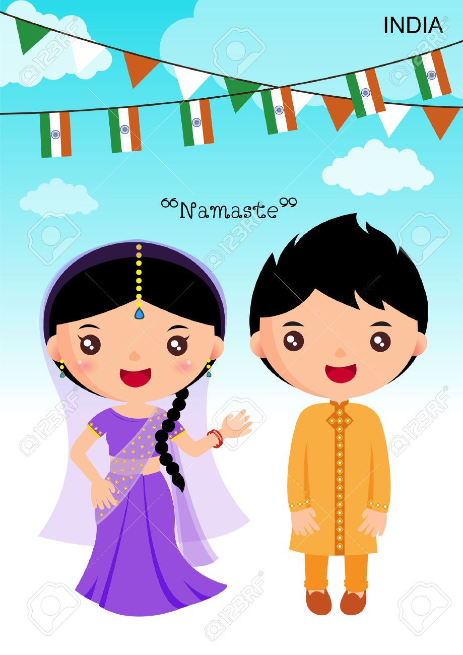 india traditional costume, asian, character boy girl.