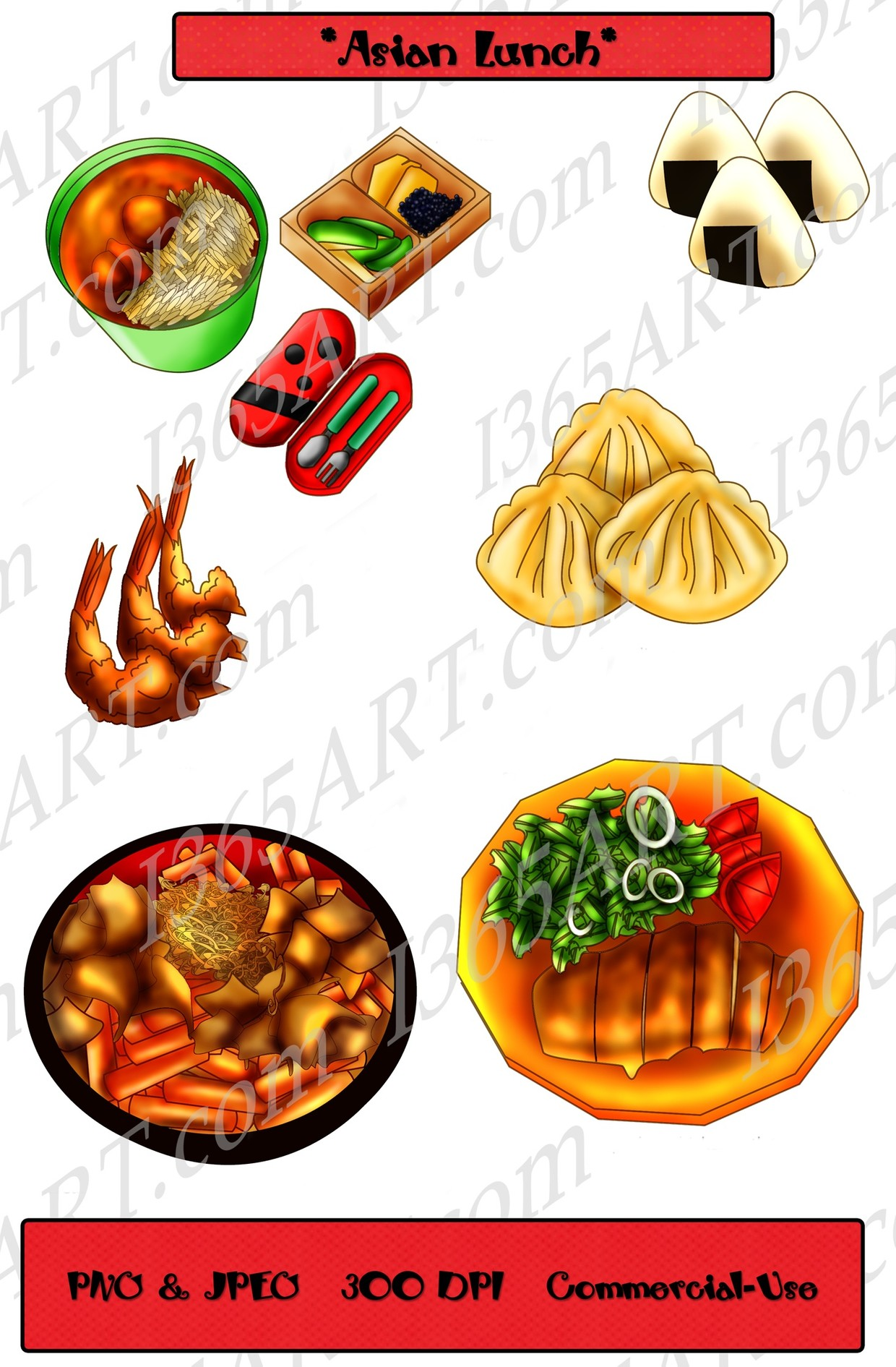 Asian lunch clipart, lunch clip art, food clipart, scrapbooking, lunch  graphics.