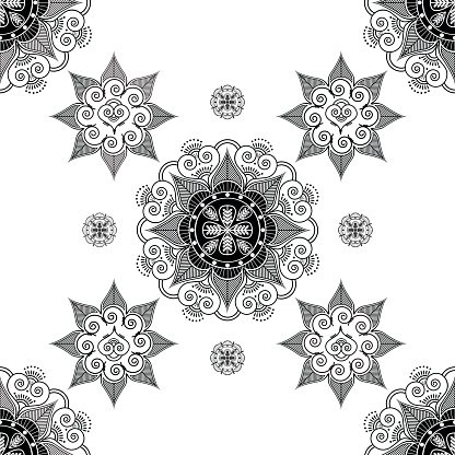 Asian culture inspired seamless wallpaper with florals.