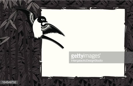 Asian Inspired Frame Clipart Image.