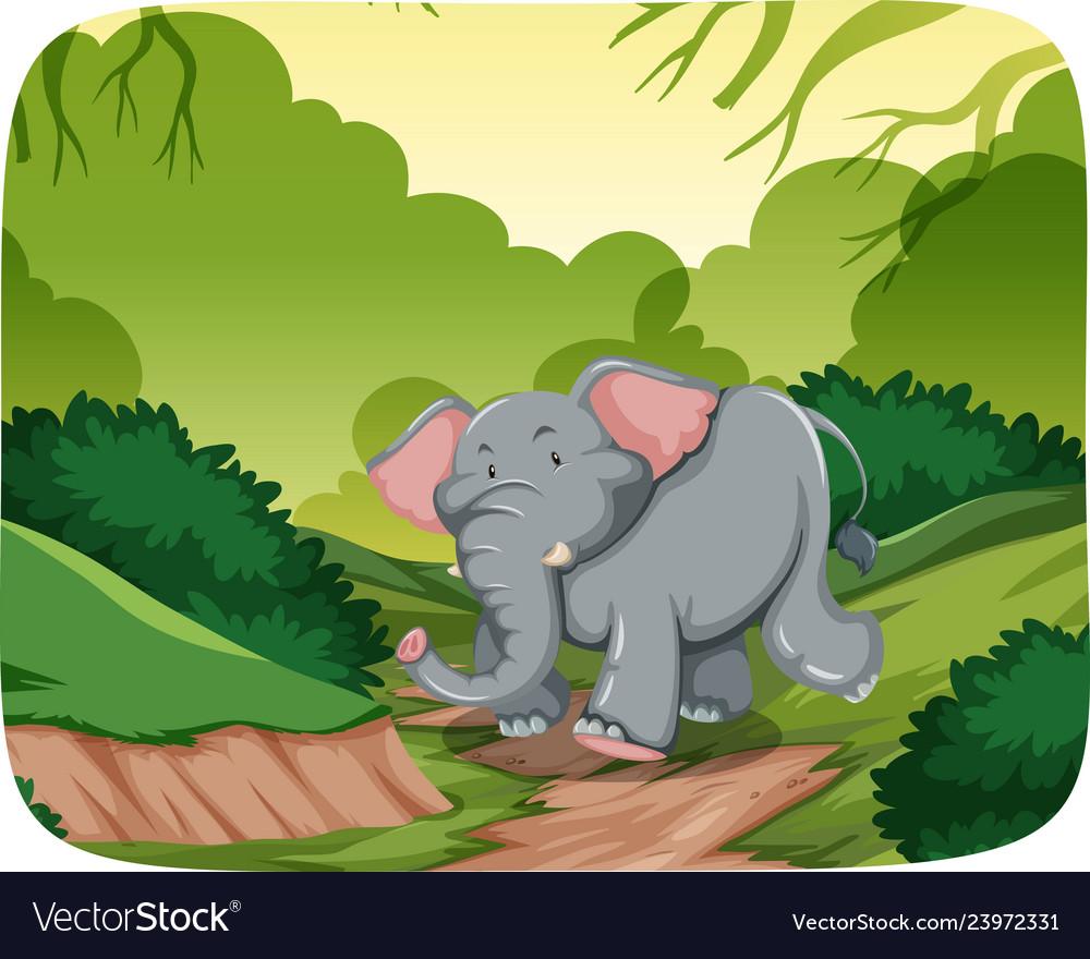 Happy elephant in jungle scene.