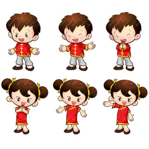 Cute Chinese boy & girl actions set by Watcartoon on Etsy.