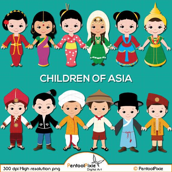 Children of Asia clipart, Asian kids, Children, Unity clipart, Ethnic Kids,  Asian children.
