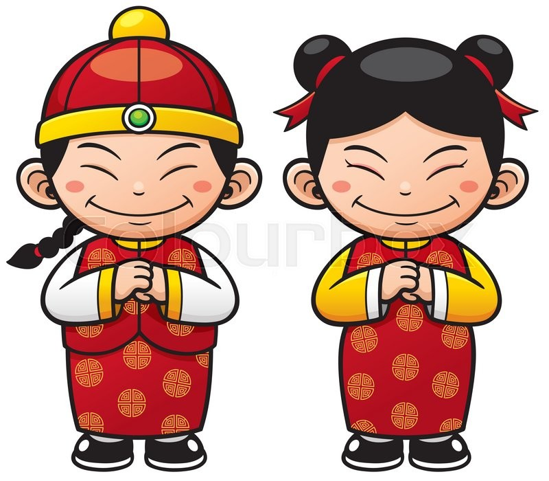 Vector illustration Chinese Kids.