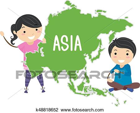 Stickman Kids Continent Asia Illustration Clipart.