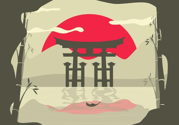 Torii Asian Landscape Background.