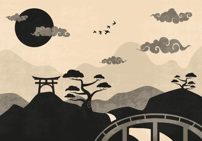 Chinese Clouds Landscape Illustration Vector.