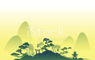 Abstract Asian Landscape With Hills stock vectors.