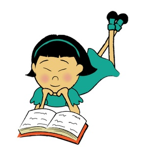 Picture of little asian kids reading book clipart.