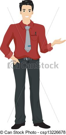 Asian man presenting something. Illustration of an asian man in red.