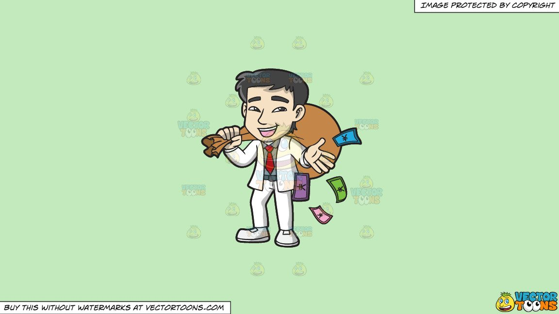 Clipart: A Rich Asian Man Holding A Bulging Sack Of Money on a Solid.