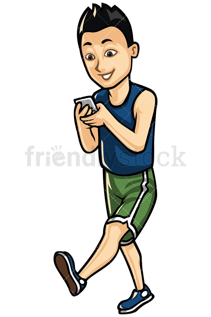 Asian Man Texting While Walking Vector Cartoon Clipart.